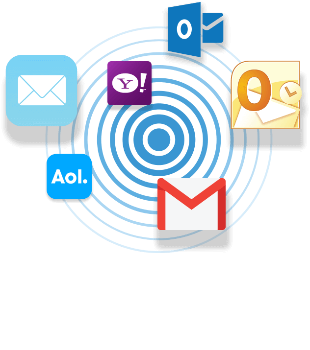 Yahoo, Gmail, Hotmail, AOL email icons