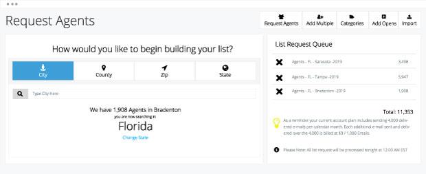 Real estate agent list request user interface