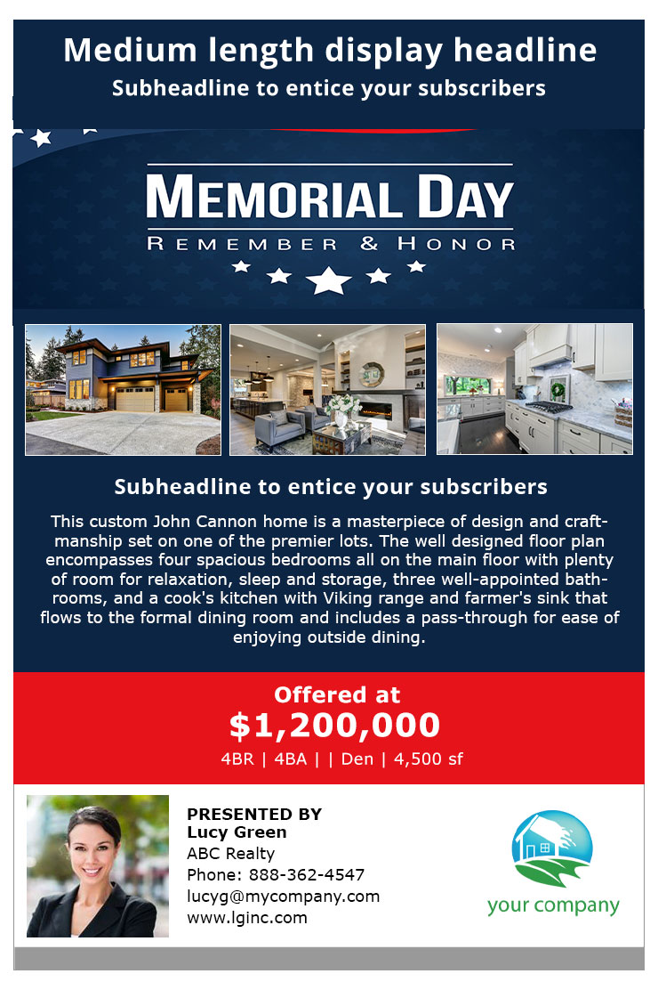 Happy Memorial Day with blue background 3 Pictures with editable text header